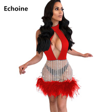 Women Sexy Feather Open front Mini Dress Sequin Lace Slim Bodycon Robe Femme Club Outfit Elegant Party Woman Vestido