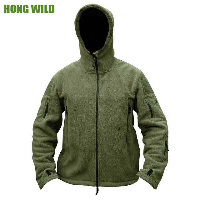 HONG WILD Military Man Fleece Tactical Softshell Jacket Polartec Thermal   Polar Hooded Outerwear Coat  Army Clothes