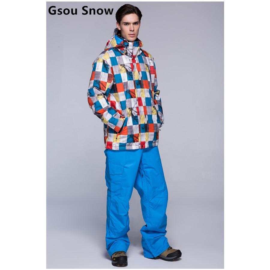 GSOU neige hiver nouvelle veste de ski et pantalon de ski loisirs de plein air hommes imperméable respirant combinaison de ski homme double planche combinaison de ski - 4