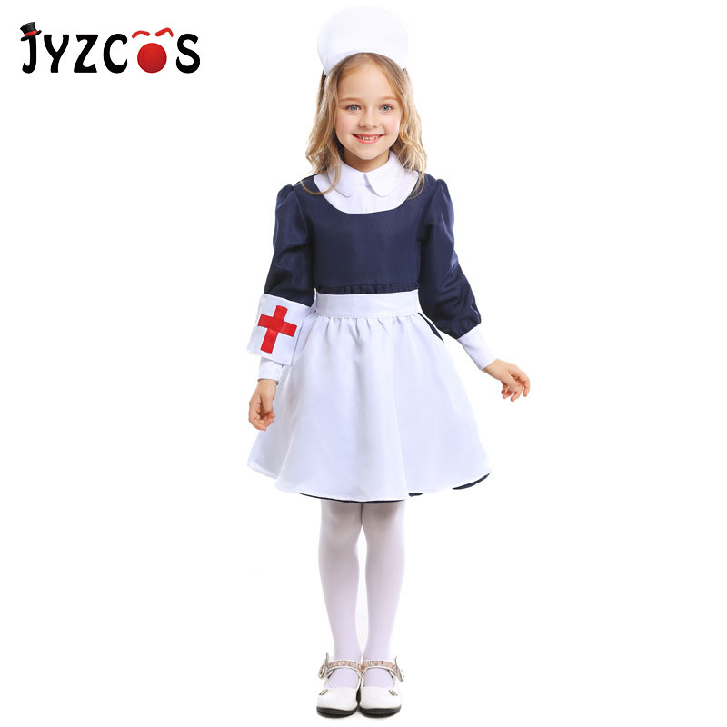 JYZCOS Kids Nurse Cosplay Costume Halloween Party Maid Costume Children Medical Uniform Carnival Costume Party Fancy Dress