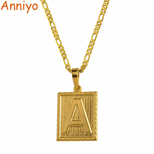Anniyo A-Z Square Letters Necklace Gold Color Initial Pendant Chain for Men Women English Letter Alphabet Jewelry Gifts #104006
