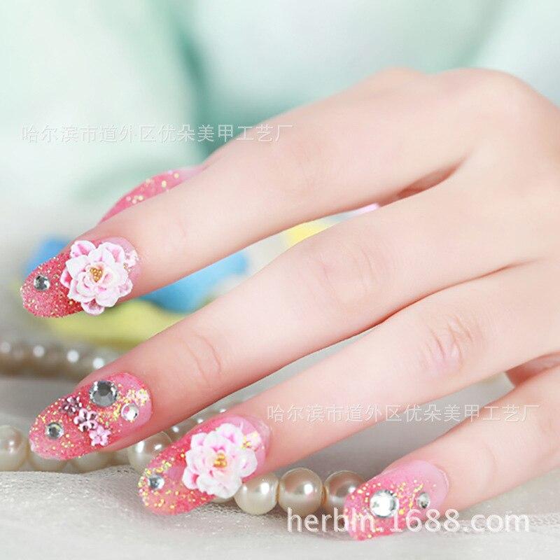 Pink Lotus Nail Art Patch Fake False Nail Finger, Art Sticker ...