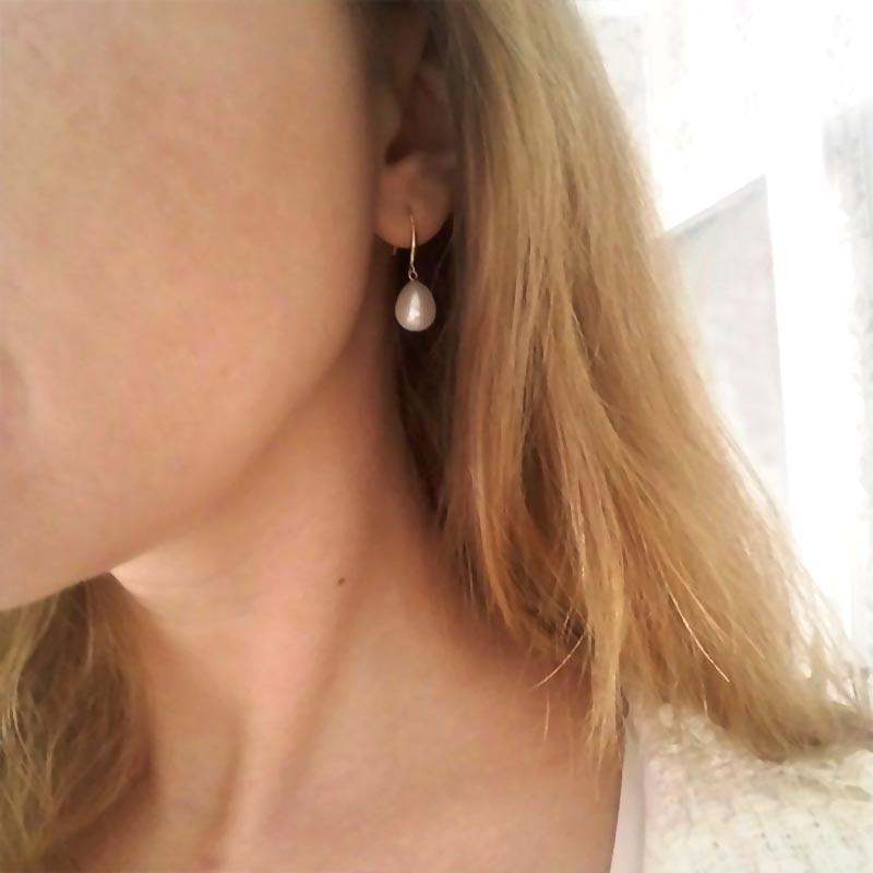 DAIMI 18 k or crochet boucles d'oreilles 8-9mm perles d'eau douce boucles d'oreilles de haute qualité marque bijoux pour les femmes - 6