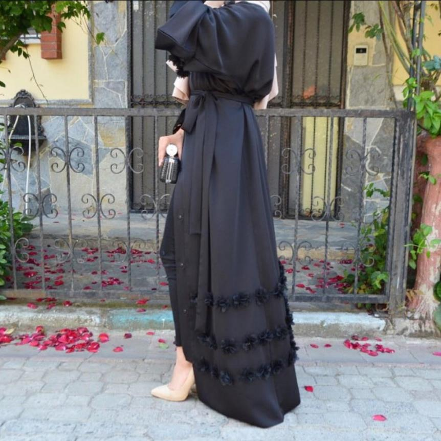 2018 Adult Casual cardigan Flower Robe Musulmane Turkish Dubai Fashion Abaya Muslim Dress Robes Arab Worship Service Wj1886