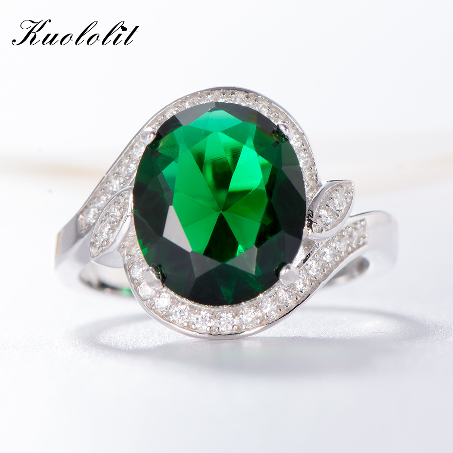 Kuololit Created Emerald Gemstone Rings for Women 925 Sterling Silver Ring Band for Women Wedding Anniversary Gift  Fine JewelryKuololit Created Emerald Gemstone Rings for Women 925 Sterling Silver Ring Band for Women Wedding Anniversary Gift  Fine Jewelry