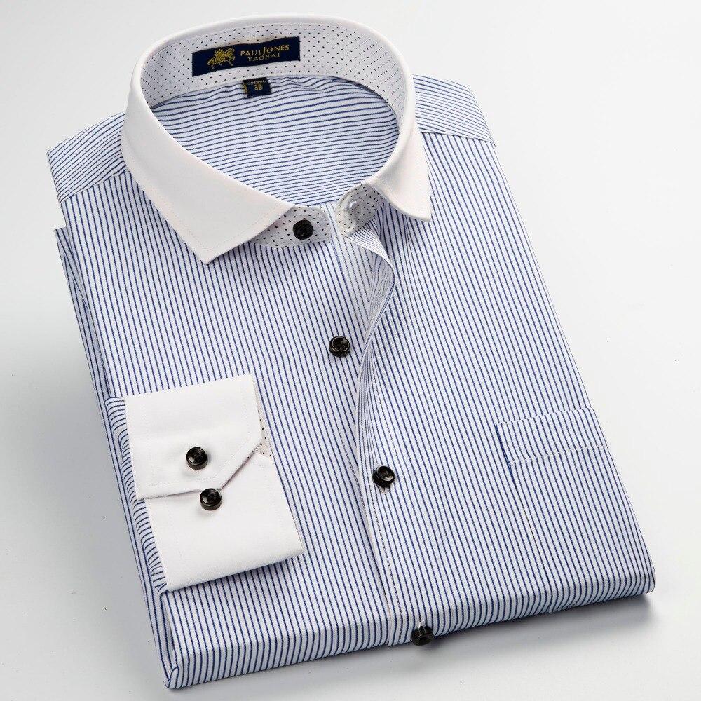 Pauljones Mens Striped Plaid Dress Formal Shirts Classic Style Men