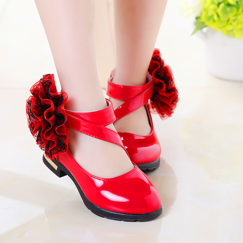 Summer Girls Leather Shoes Children Red Flower Princess Sandals Fashion Korean Wedding Dress Party Shoes For Kids Student Shoes