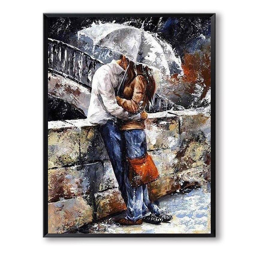 DIY масла Краски ing на холсте ручной работы Краски по количеству Curdros decoracion Lover рисунок Зонт поцелуй пара подарок на день Святого Валентина FSZ-34
