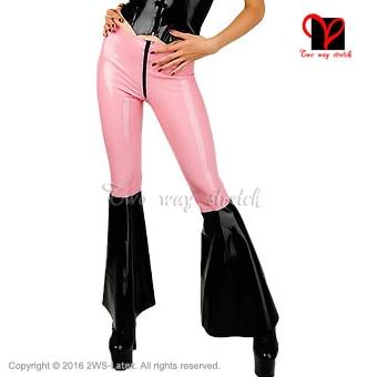 Sexy Latex Leggings flared legs front zipper pink and black Rubber Bell Bottom Pants Gummi Trousers Long XXXL plus size KZ-079 latex breeches jeans rubber pants trousers front zipper gummi bottoms pantaloons jodhpurs leggings tights plus size xxxl kz 081