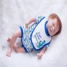 20 inch 50 cm Silicone baby reborn dolls, lifelike doll reborn Fashion Blue piece clothes sleeping baby