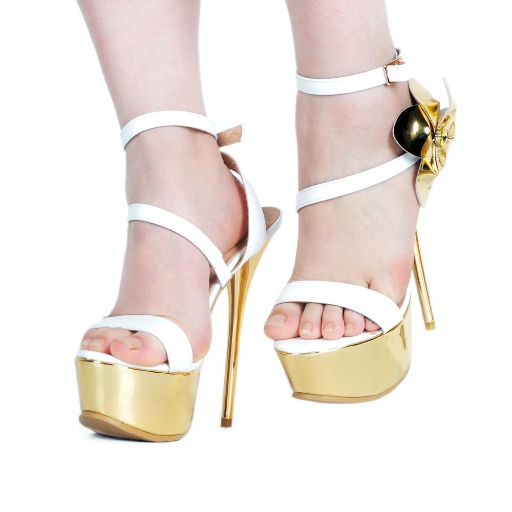 db53817204 Sapatas Sapatos Color Festa Salto De Design Casamento Ouro Alto Marca  Mulheres Super Branco Sexy Da ...