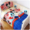 Promotion! 6/7pcs Mickey Mouse Baby bedding Sets kit bed around piece set baby bedding 100% cotton,120*60/120*70cm
