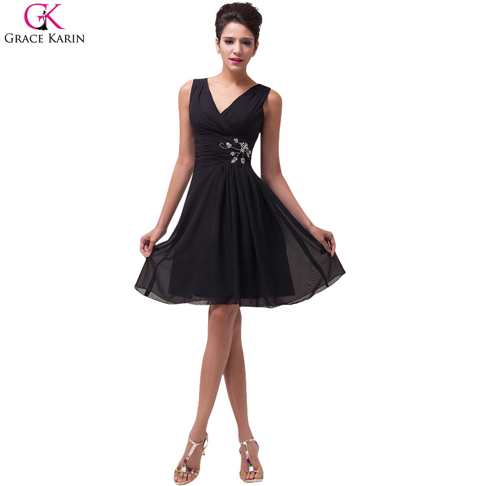Grace Karin Cocktail Dresses Black Vestidos Coctel 2017 Sexy V Neck ...