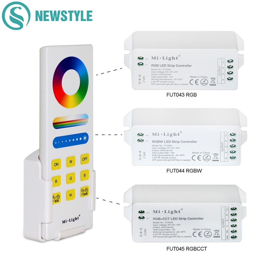 Milight 2.4G Smart Phone RF LED Controller RGB RGBW RGB CCT Controller+Wireless Timer Touch Remote Control For 3528 5050 Strip mi light wifi controller 4x led controller rgbw 2 4g 4 zone rf wireless touching remote control for 5050 3528 led strip