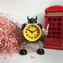 Creative Kids Alarm Metal Robot Clock Cartoon Anime Table Desktop Clock Alarm Watch Children Christmas Gift(China)