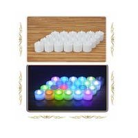 Flameless Flickering LED Colorful Light Candles Tea Light-(24Pcs)