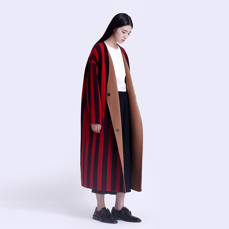Limited Discount Original Design double faced wool vertical striped oversized long reversible winter overcoat wool coat women