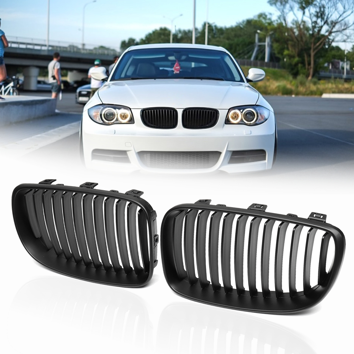 цена For BMW 1 SERIES E81 E82 E87 E88 2d 4d 2007 2008 2009 2010 2011 2012 2013 Pair ABS Side Matte Gloss Black Front Kidney Grilles