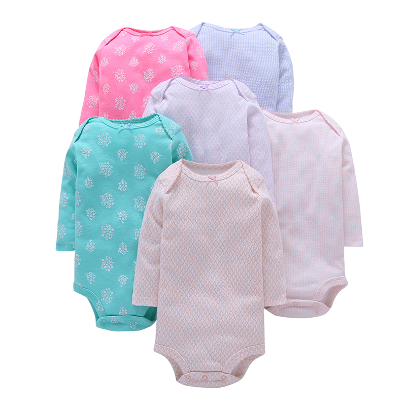 6Pcs/Lot Summer Baby Girl Bodysuits Pink Blue White Long Sleeves Print Cotton Baby Jumpsuit Baby Girl Clothes Sets ROBG079721877 baby pink v neck tassel detailed jumpsuit