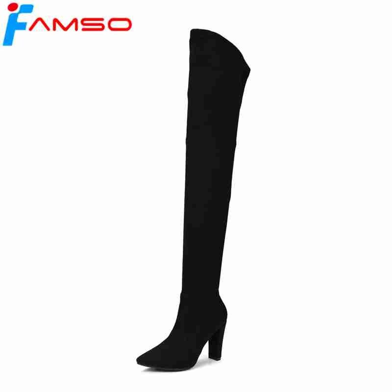 FAMSO tamaño 34 43 2018 otoño nuevas mujeres atractivas botas otoño 2018 rojo e62974