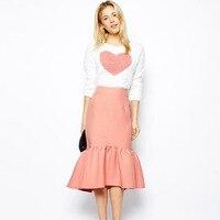 Lovely Short Mermaid Satin Skirts 2016 Custom Made Invisible Zipper Tea Length Women Skirts 100% Real Image