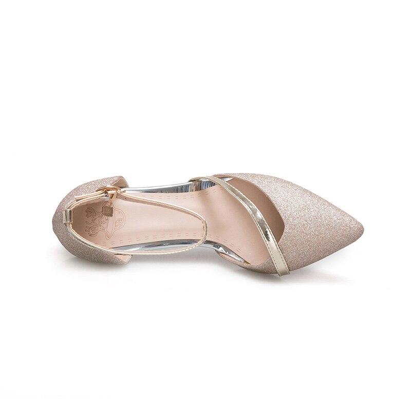 silver Pompes Pour Haute Style Plus Cuir Mariage Pu Pointu Talons En Femmes Ville Gloden De Bout Taille La Soirée 2018 Chaussures Fun Doux Gloden wpgvSqxI