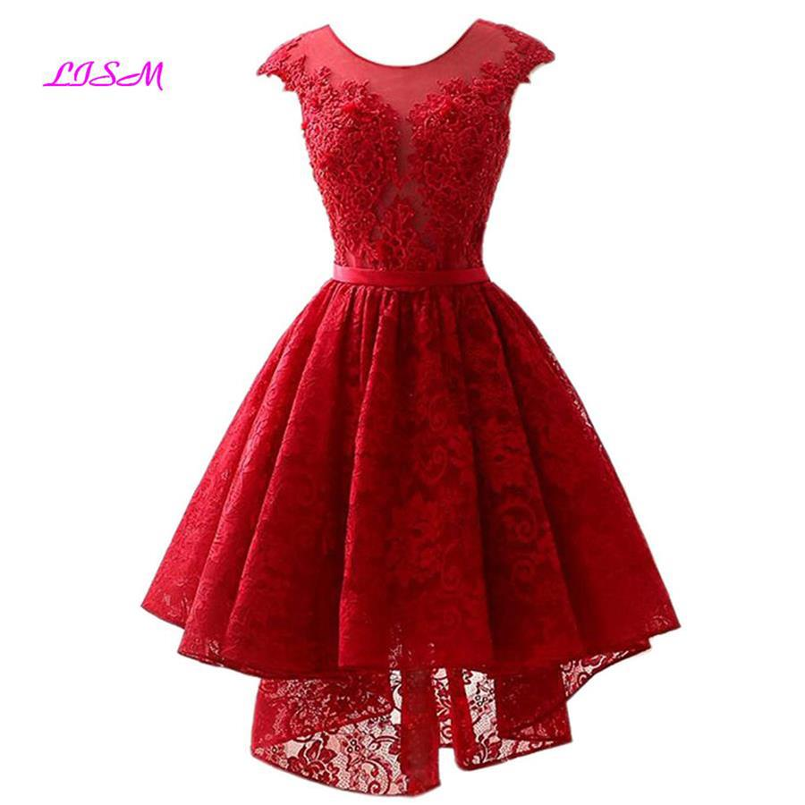 Short Hi Low Lace Cocktail Dresses For Graduation Scoop Cap Sleeves Knee-Length Prom Party Gowns Real Photo Vestido Coctel Corto