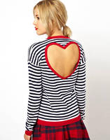 2014 New Spring Zebra Strip Long Sleeve T Shirt With Open Back Hollow Torn Tops Red
