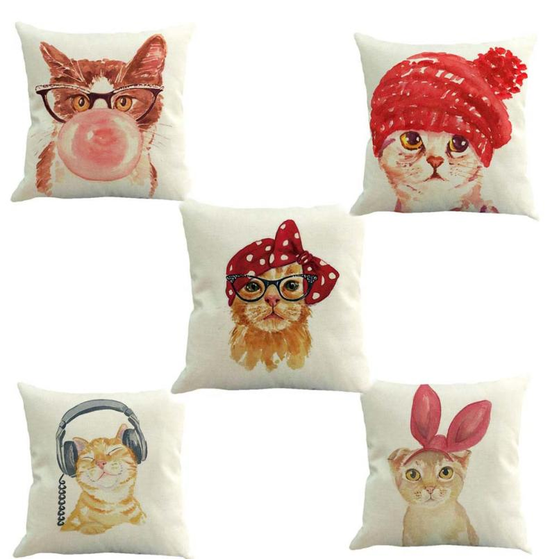 TENSKE christmas pillowcase decoration European Home Decor 45*45 Cotton Linen Cat Cushion Cover Throw Pillow Case cojines NOV27