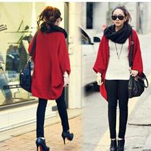 New Women Loose Shawl Batwing Sleeves Lady Knit Sweater Coat Woolen Female Cardigans Red/Black Free Size