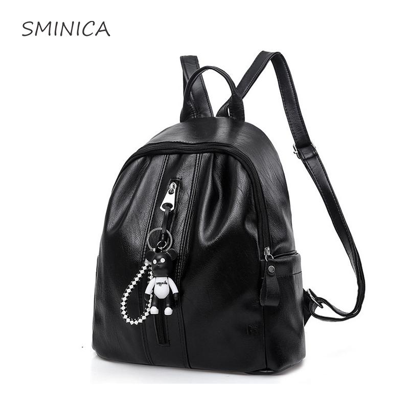 Fashion Women Leather Backpack Female Backpacks for Girls Soft Casual Black Back Bag Sol ...