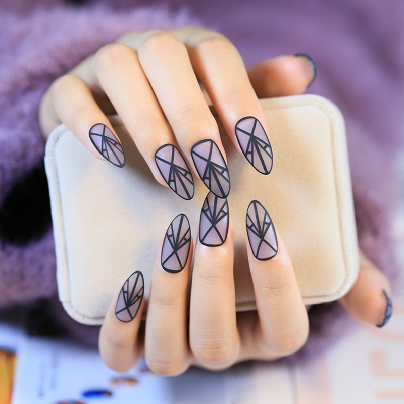 Fashion Clear Matte Fake Nails Pointed Lady Acrylic False Nail Kit ...