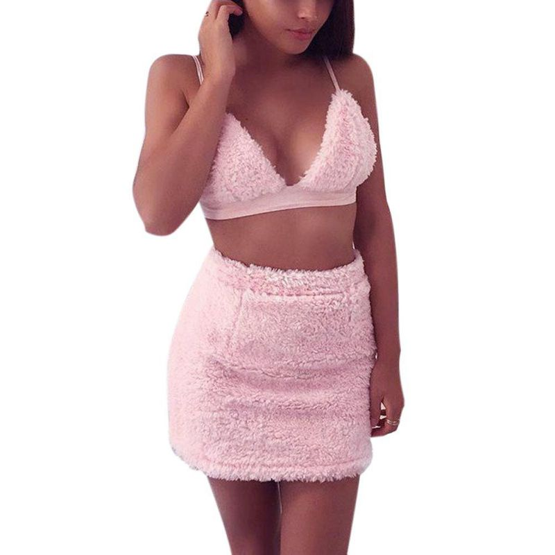 2018 Mini Velvet Dresses Women 2 pieces Pink Bodycon Dess Casual Short Vestidos High quality Matieral drop shipping W9