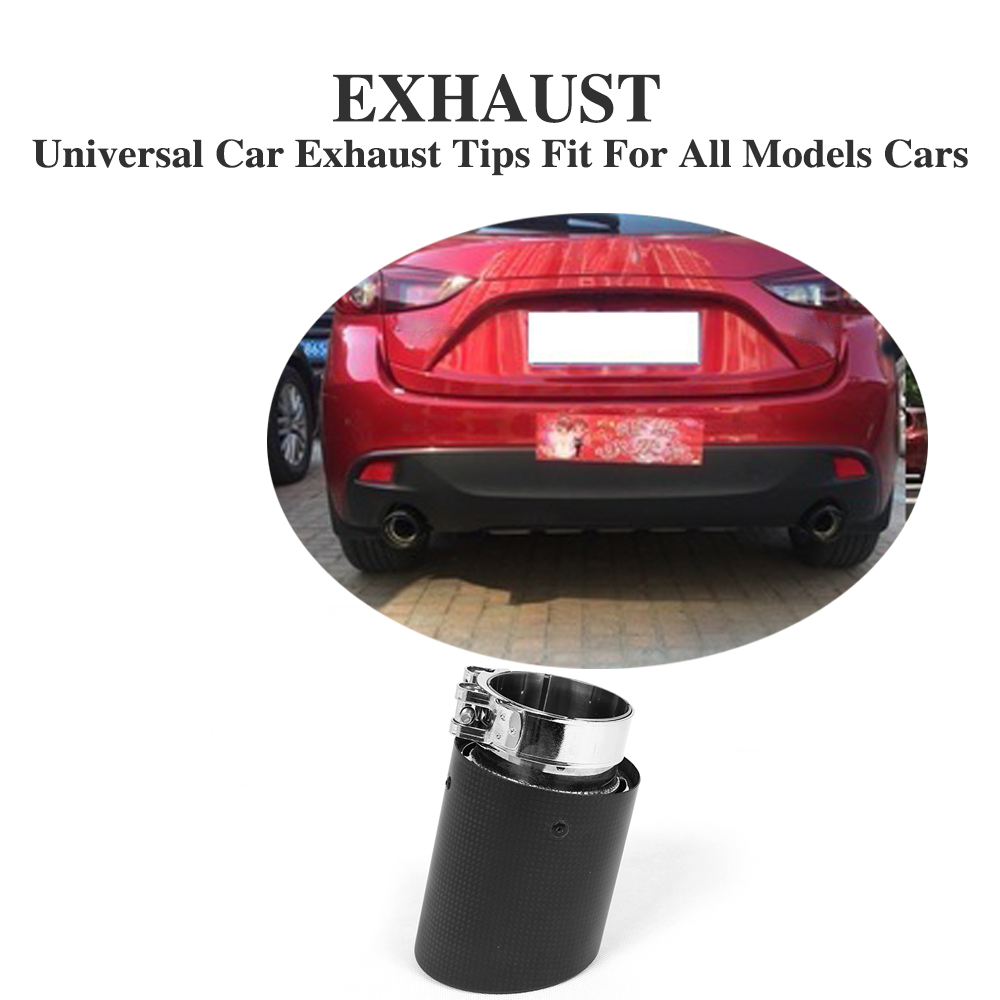 1PC Universal 60mm Outlet Carbon Fiber And Stainless Steel Rear Bumper Exhaust Tip Muffler End for BMW for Audi for  VW all Car