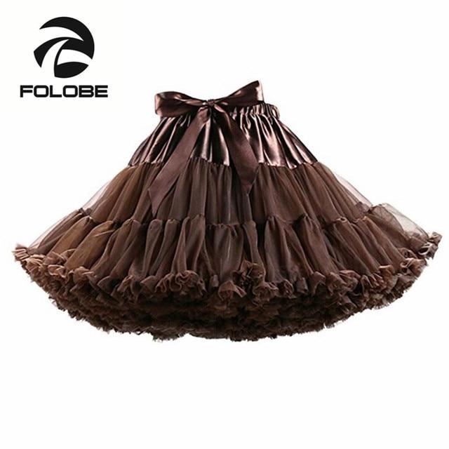 1bad437c44 FOLOBE café baile falda de cintura alta vestido de tul Tutu Faldas de Ballet  mujeres adulto