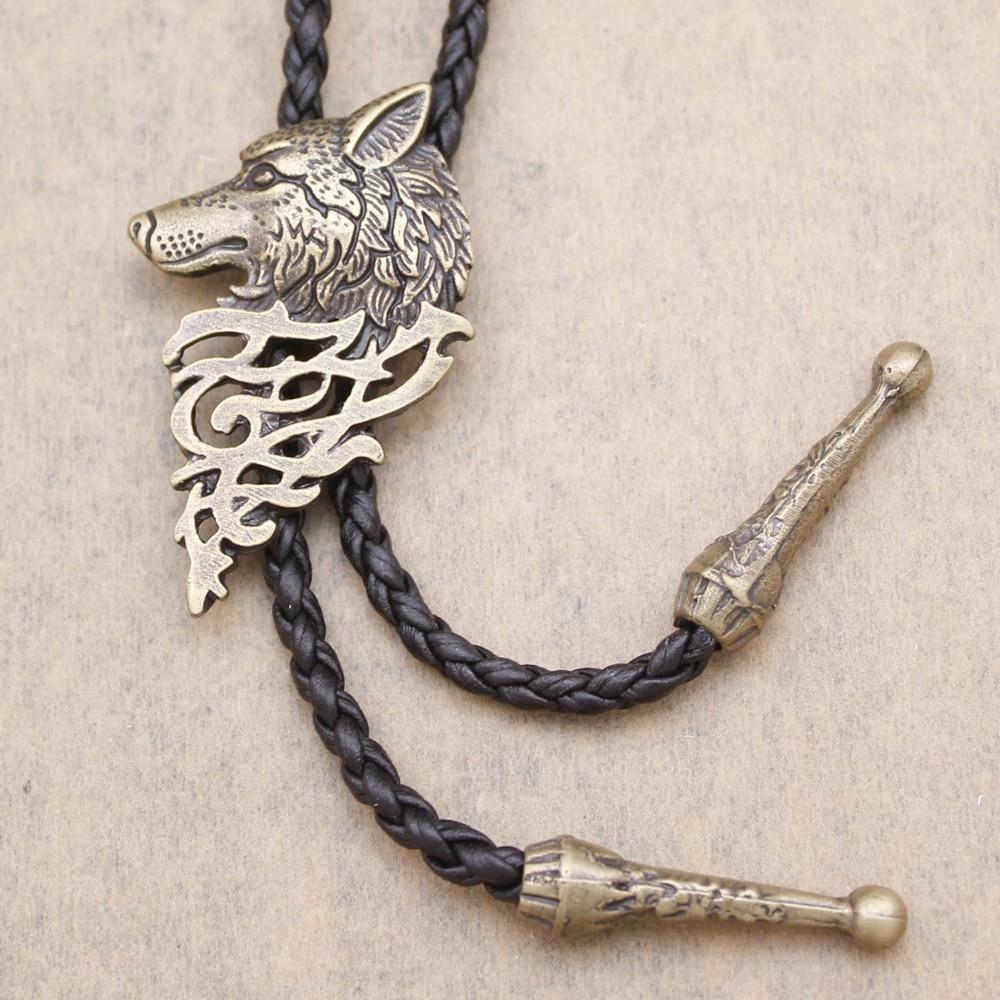 Vintage Silver Gold Western Art Nouveau Dire Wolf Head Coyote Leather NAVAJO Necktie Bola Bolo Tie Men Jewelry Necklace