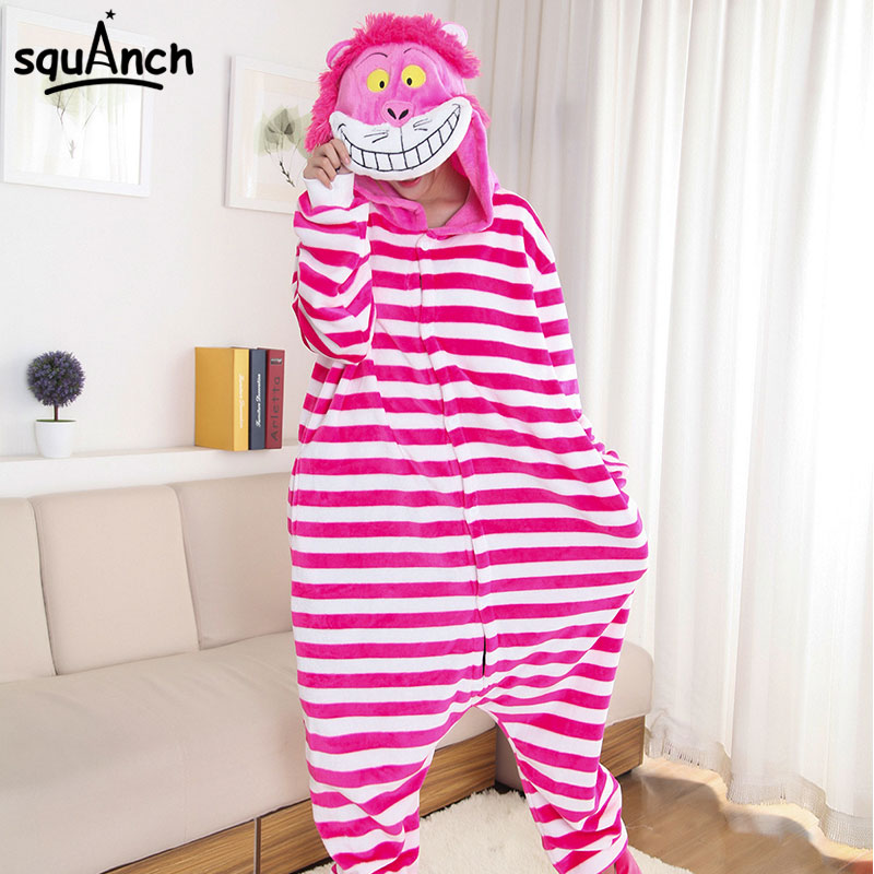 Cheshire Cat Kigurumis Onesie Funny Pink Stripe Onesie Women Girl Adult  Sleepwear Cartoon Animal Character Pajama Winter Outfit