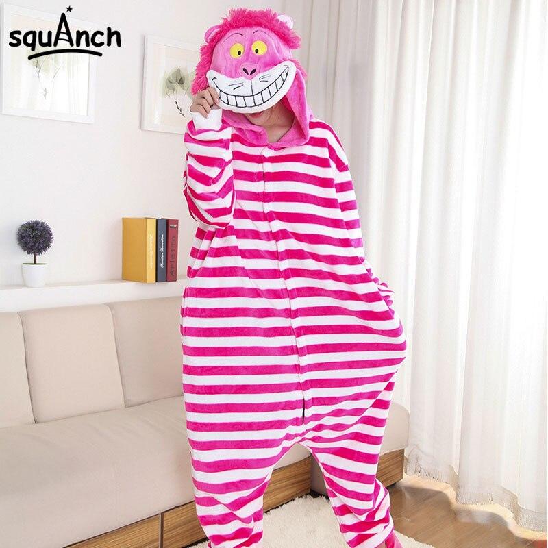 Cheshire Cat Kigurumis Onesie Funny Pink Stripe Onesie Women Girl Adult  Sleepwear Cartoon Animal Character Pajama Winter Outfit