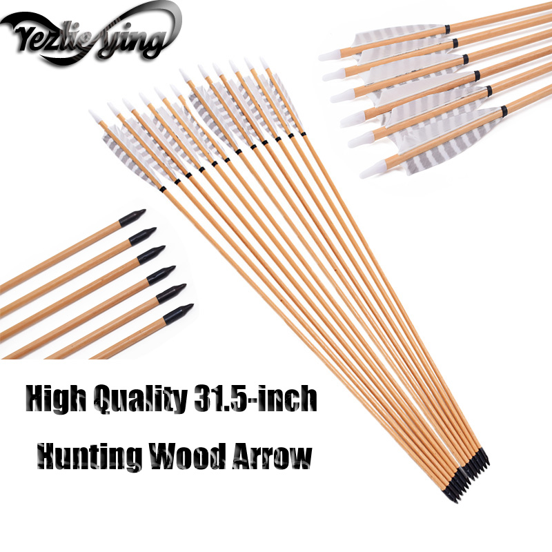 6/12/24pcs 31.5Inch Wooden Arrow White Turkish True Feather Recurve Bow Hunting Archery