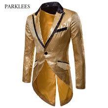 Erkek Parlak Altın Pullu Glitter Tailcoat Ceket Marka Yenİ Slim Fit Bir Düğme Uzun Smokin Blazer Parti Sahne Şarkıcı Kostüm homme