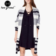 Women Winter Knitted Long Coat Fashion Open Stitch Striped Patchwork Contrast Color Full Sleeve Female Outwear WWK557