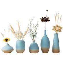 Ceramic Ocean Beach Wedding Vase Wall Countertop Desktop Blue Vases for Dried Flowers Home Decoration Accessories