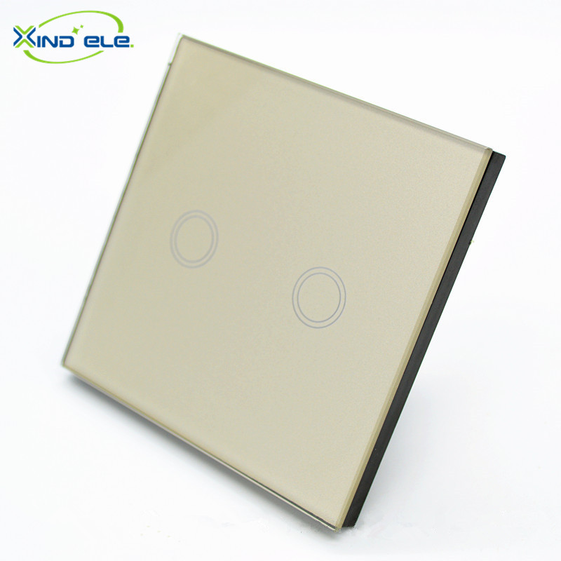XIND ELE Crystal Glass Panel Wall Switch EU Touch Switch Screen Wall Light Switch 2 gang 1 way 220V Gold for LED lamp  #XDTH02G# xind ele crystal glass panel smart home touch light wall switch with remote controller interruptor de luz xdth03b blr 8