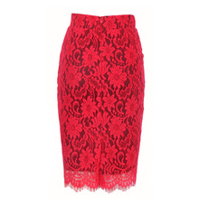 6b40006f97 Women Autumn Winter Red Sexy Party Floral Embroidery Lace Pencil Skirt  Office Ladies High Waist Knee