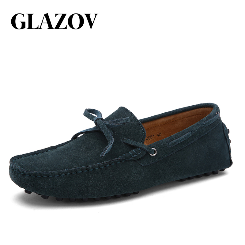 GLAZOV Brand Big Size 38-49 Cow Suede Leather Men Flats New Men Casual Shoes High Quality Men Loafers Moccasin Driving Shoes