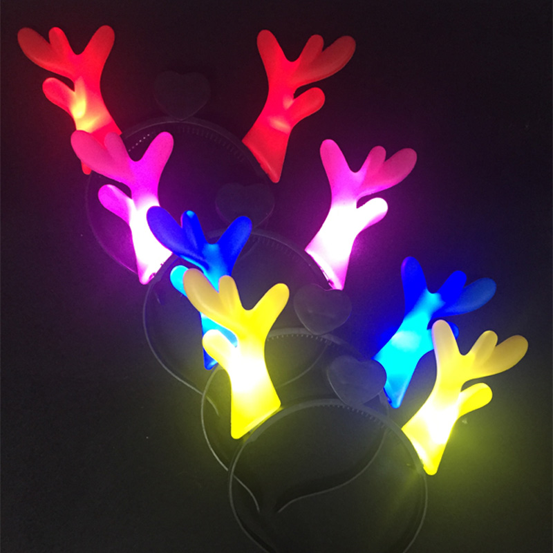 10pcs/lot Christmas supplies colorful antler design led headband cartoon light up flashing horns head wear festival supplies