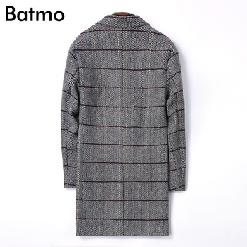Batmo 2018 new arrival winter high quality wool plaid casual  jacket men,wool trench coat men 8881