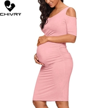 Chivry New Maternity Women Pregnancy Dresses Mama Clothes O-Neck Solid Sexy Off Shoulder Bodycon Pregnant Casual Dress