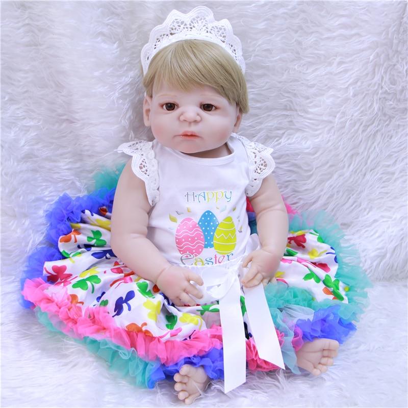 Bebe fille Reborn bébé silicone poupées 22 pouces pleine Silicone vinyle nouveau-né filles bonecas Brinquedos enfants cadeau d'anniversaire