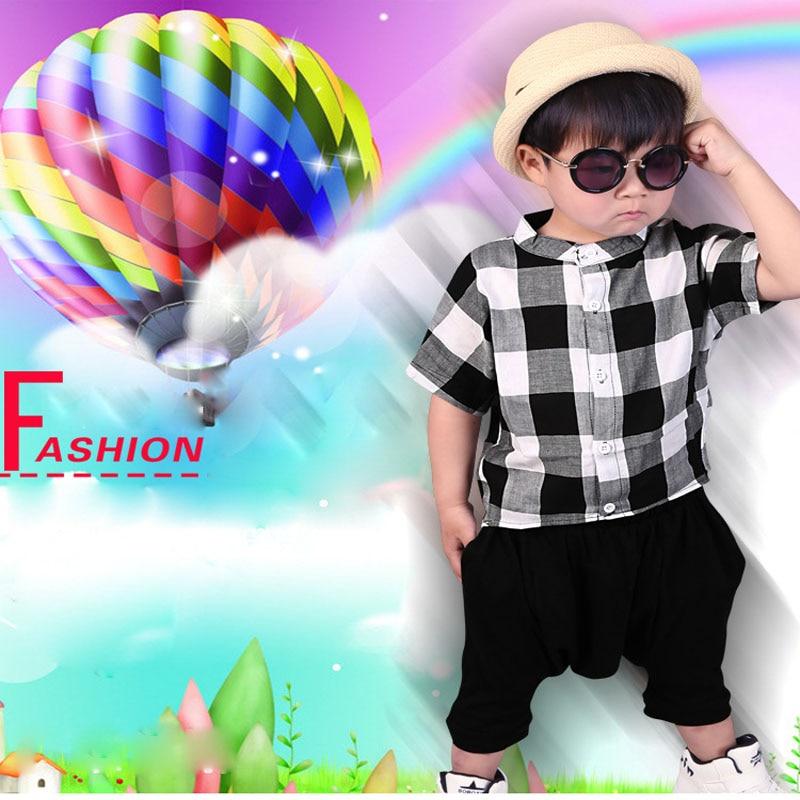 Baby Boy Sommar Mode Set Kortärmad Plaid Shirt + Bred Ben Street - Barnkläder